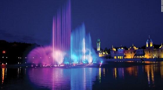 фонтан на воде динамический